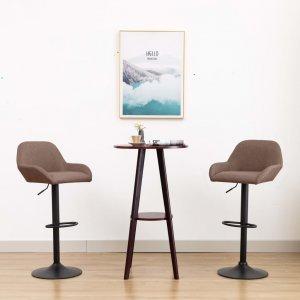 Καρέκλα Μπαρ με Μπράτσα Χρώμα Taupe Υφασμάτινη
