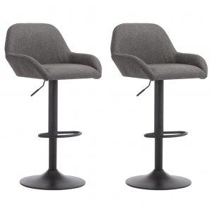 Καρέκλες Μπαρ με Μπράτσα 2 τεμ. Σκούρο Γκρι Υφασμάτι&
