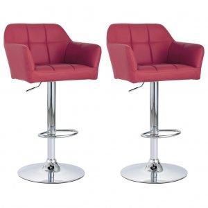 Καρέκλες Μπαρ με Μπράτσα 2 τεμ. Μπορντό από Συνθετικό Δέ