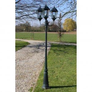 Brighton Στύλος Φωτισμού Κήπου 3φωτος Σκούρο Πράσινο / Μαύρο 230 εκ.
