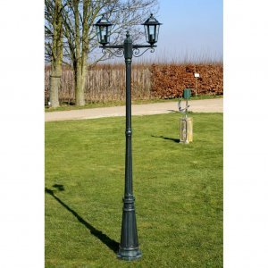 Preston Στύλος Φωτισμού Κήπου 2φωτος Πράσινος 215 cm