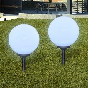 Φωτιστικό Εξωτερικού Χώρου Μπάλα Ηλιακό LED 2 τεμ. 30 εκ. με Καρφί