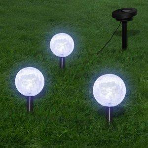 Φωτιστικά Ηλιακά Μπάλα LED 3 τεμ. με Στηρίγματα & Ηλιακό Πάνελ