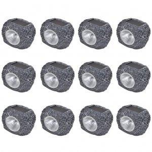 Ηλιακό Φωτιστικό LED Σποτ Σχήμα Πέτρας 12 τμχ