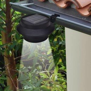 Ηλιακό φωτιστικό για φράχτη ή υδρορροή Σετ 6 τμχ Μαύρο