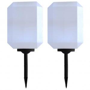 Φωτιστικά Εξωτερικού Χώρου Ηλιακά 2 τεμ. LED Λευκά 30 εκ.
