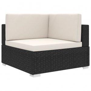 Γωνιακό Κάθισμα Τμηματικό 1 τεμ. Μαύρο Συνθ. Ρατάν + Μαξιλάρια