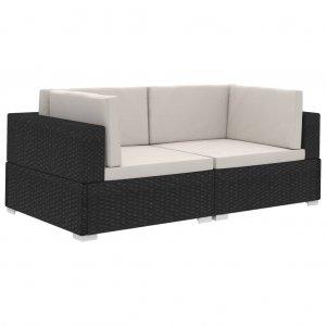 Γωνιακά Καθίσματα Τμηματικά 2 τεμ Μαύρα Συνθ. Ρατάν + Μαξιλάρια