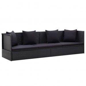 Καναπές Εξωτερικού Χώρου Μαύρος Συνθετικό Ρατάν με Μαξιλάρια