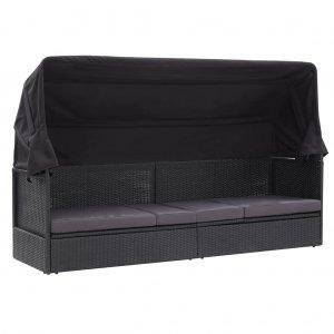 Καναπές - Κρεβάτι Κήπου Μαύρος από Συνθετικό Ρατάν με Σκίαστρο
