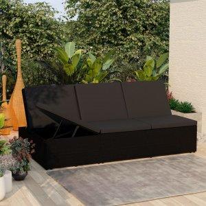 Ξαπλώστρα - Καναπές Μαύρη από Συνθετικό Ρατάν με Μαξιλάρι