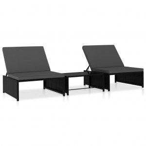 Καρέκλες/Ξαπλώστρα 2 τεμ. Μαύρο Συνθετικό Ρατάν με Τραπέζι