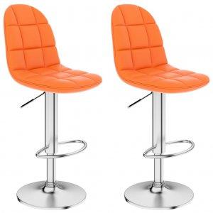 Σκαμπό Μπαρ 2 τεμ. Πορτοκαλί από Συνθετικό Δέρμα