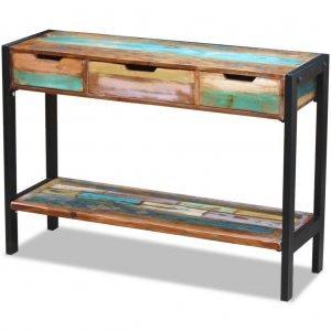 Τραπέζι Κονσόλα με 3 Συρτάρια από Μασίφ Ανακυκλωμένο Ξύλο