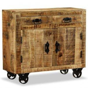 Συρταριέρα με 2 συρτάρια και 1 ντουλάπι ακατέργαστο ξύλο μάνγκο
