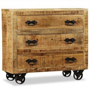 Συρταριέρα με 3 συρτάρια από ακατέργαστο ξύλο μάνγκο