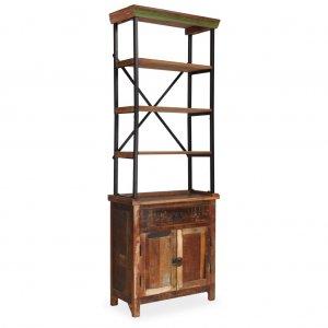 Βιβλιοθήκη με ντουλάπι 65x30x180 εκ. Μασίφ ανακυκλωμένο ξύλο