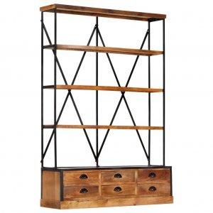 Βιβλιοθήκη με 4 επίπεδα/6 συρτάρια 122x36x181 εκ. Ξύλο μάνγκο