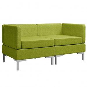 Γωνιακοί τμηματικοί καναπέδες δύο τεμαχίων πράσιν&omicron