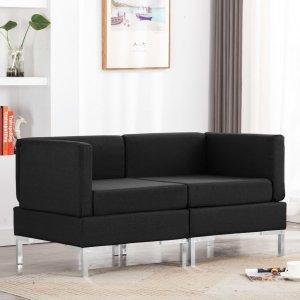 Γωνιακοί καναπέδες τμηματικοί δύο τεμαχίων μαύροι &a