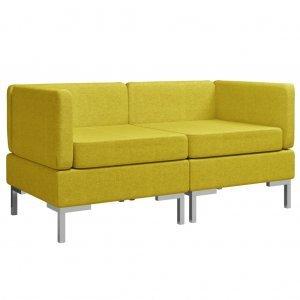Γωνιακοί καναπέδες τμηματικοί δύο τεμαχίων κίτριν&omicro