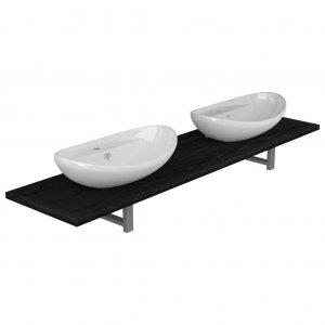 Σετ επίπλων μπάνιου τριών τεμαχίων μαύρο κεραμικό