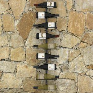 Βάση κρασιών τοίχου για 9 φιάλες μαύρη σιδερένια