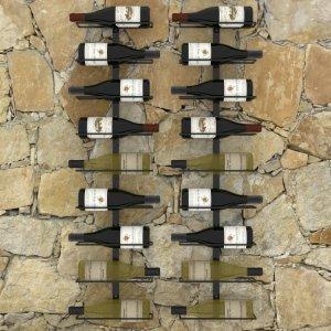 Βάσεις κρασιών τοίχου δύο τεμαχίων για 18 φιάλες μαύρες σιδερένιες