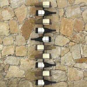 Βάση κρασιών τοίχου για δέκα φιάλες μαύρη μεταλλική