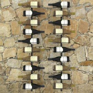 Βάσεις κρασιών τοίχου δύο τεμαχίων για 20 φιάλες μαύρες μεταλλικές