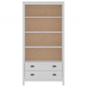 Βιβλιοθήκη Hill Range λευκή  από μασίφ ξύλο πεύκου 85x37x170 εκ