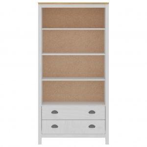 Βιβλιοθήκη Hill Range λευκή 85x37x170 εκ από μασίφ ξύλο πεύκου