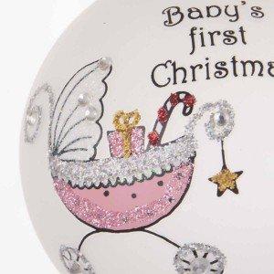 Γυάλινη ζωγραφιστή Χριστουγεννιάτικη μπάλα λευκή με μπλε καρότσι Baby 's first Christmas 8 εκ
