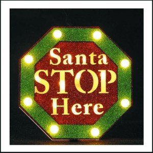 Santa Stop Here φωτεινή Χριστουγεννιάτικη πινακίδα 25x5x25 εκ