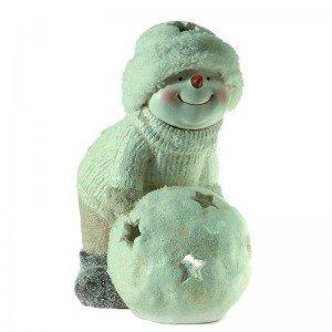 Χριστουγεννιάτικος κεραμικός χιονάνθρωπος με χιονόμπαλα 16x27x28 εκ