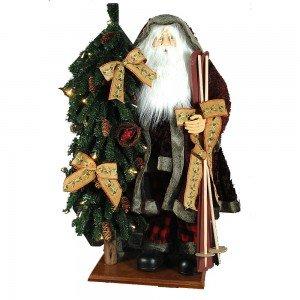 Διακοσμητικός Χριστουγεννιάτικος Άγιος Βασίλης σε τζάκι με φωτισμό