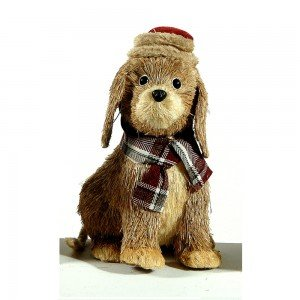 Διακοσμητικό Χριστουγεννιάτικο σκυλάκι σε μπεζ χρώμα 44 εκ