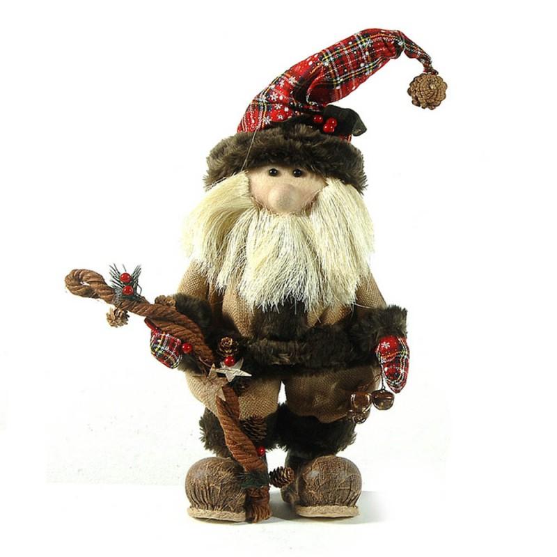 Vintage Χριστουγεννιάτικος διακοσμητικός Άγιος με μπορντώ ρούχα 63 εκ