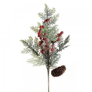 Χιονισμένο Χριστουγεννιάτικο διακοσμητικό κλαδί με berries και κουκουνάρι 45 εκ